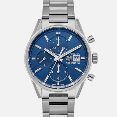 TAG Heuer Carrera Calibre 16 CBK2112 Blue Dial On Bracelet