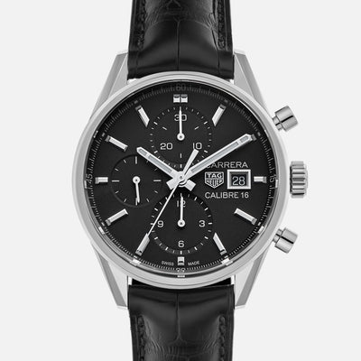 TAG Heuer Carrera Calibre 16 CBK2110 Black Dial On Strap