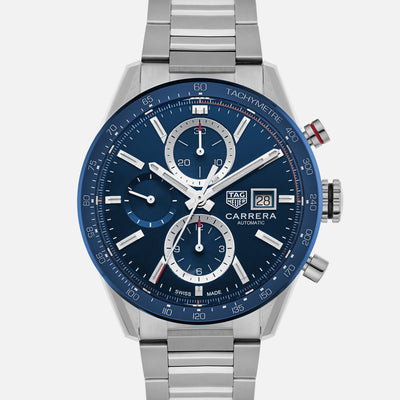 TAG Heuer Carrera Calibre 16 CBM2112 Blue Dial On Bracelet