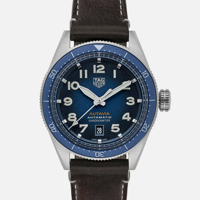 TAG Heuer Autavia Calibre 5 Chronometer WBE5114 Blue Dial On Leather Strap