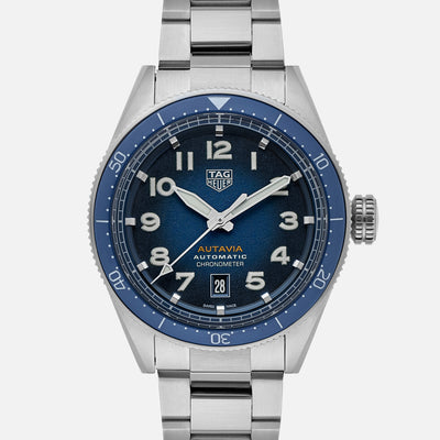 TAG Heuer Autavia Calibre 5 Chronometer WBE5114 Blue Dial On Bracelet