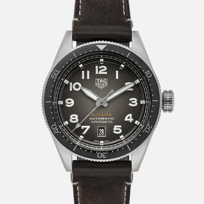TAG Heuer Autavia Calibre 5 Chronometer WBE5114 Black Dial On Leather Strap