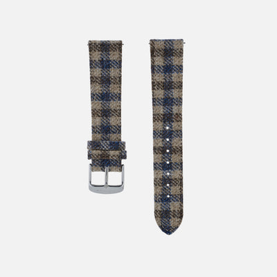 Beige And Blue Plaid Watch Strap