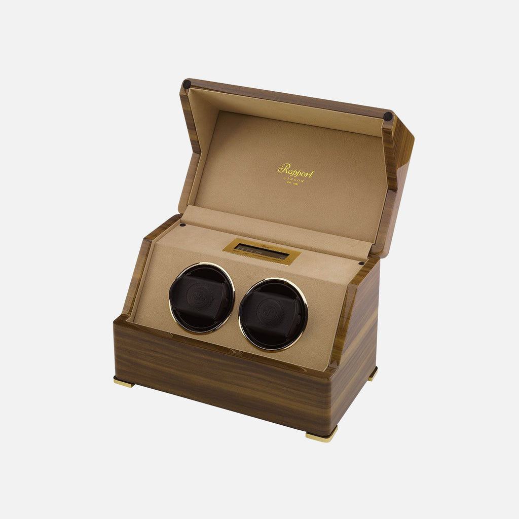 Duo Rapport Perpetua III Touch Screen Watch Winder In Walnut