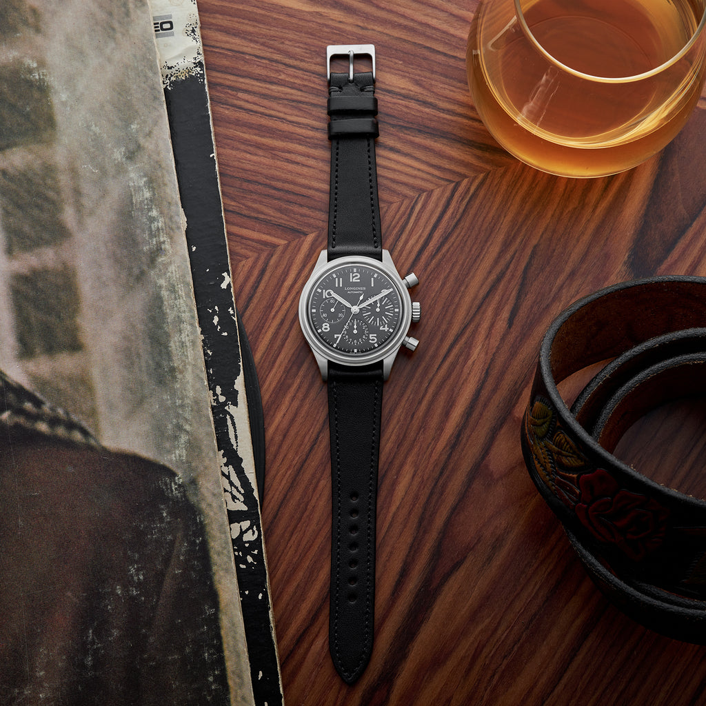 The Lined Cooper Watch Strap In Black