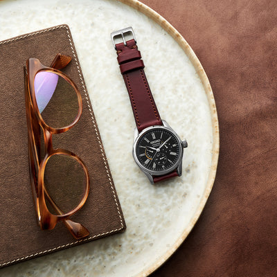 The Lined Cooper Watch Strap In Burgundy alternate image.