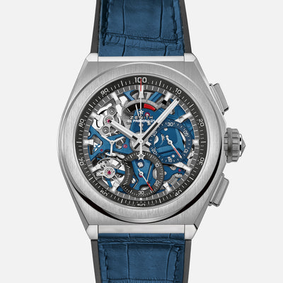 Zenith Defy 21 Chronograph With Blue Dial In Titanium