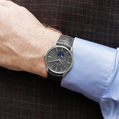 Zenith Elite Moonphase Grey Dial In Steel alternate image.