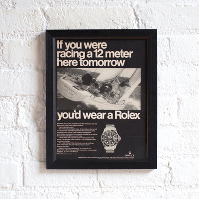 Framed 1980s Rolex Submariner Advertisement