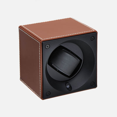 Brown Calfskin Swiss Kubik Watch Winder