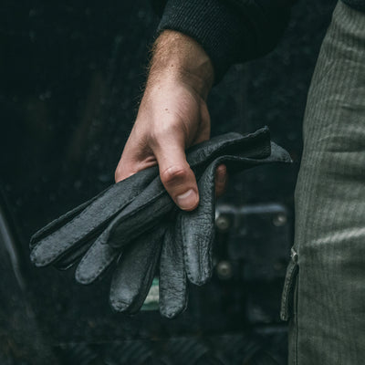 Hestra For HODINKEE Limited Edition Peccary Gloves In Dark Grey alternate image.