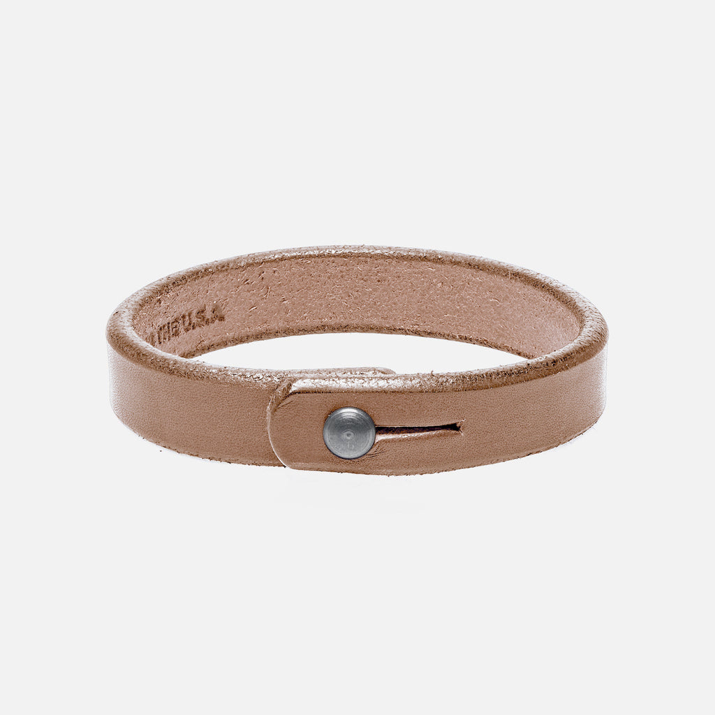 Single Wrap Beige Leather Wristband