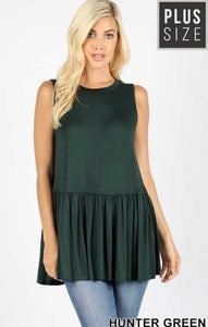 Hunter Green Ruffle Bottom Top - JohntinesBoutique.com