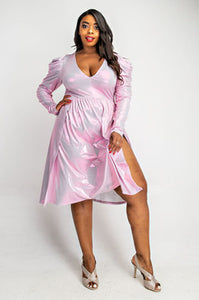 Pink Holographic Dress - JohntinesBoutique.com