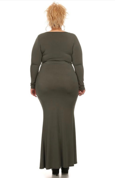Kayla Olive Split Dress - JohntinesBoutique.com