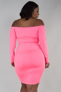 Neon Pink Dream Ruched Dress (order a size up ) - JohntinesBoutique.com