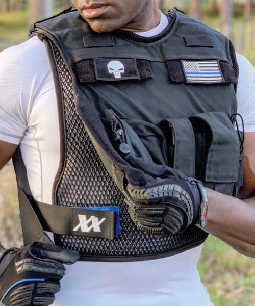 Cop invents breathable cooling vest for police law enforcement officers and military to wear under armour to stay cooler and less sweaty