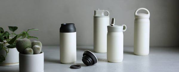KINTO Journal Article TRAVEL, PLAY, ACTIVE, and DAY OFF tumblers in white