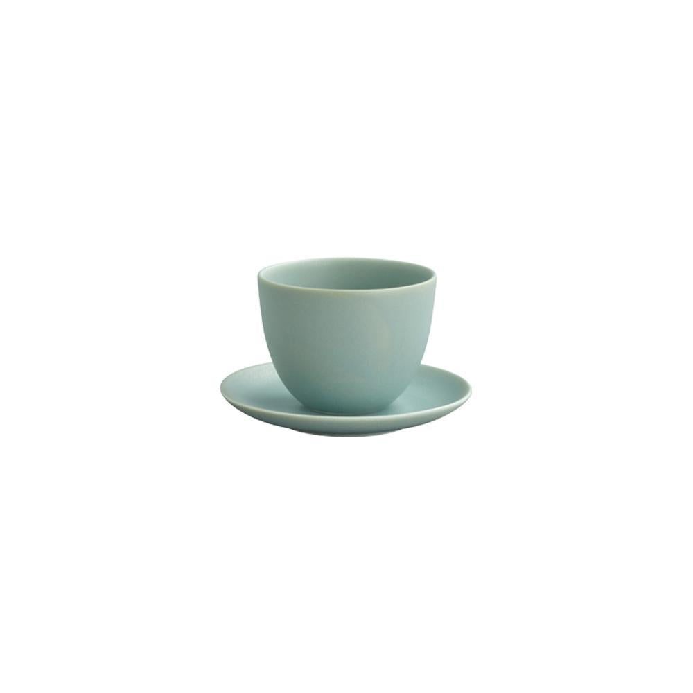 KINTO PEBBLE CUP & SAUCER 180ML / 6OZ  MOSS GREEN