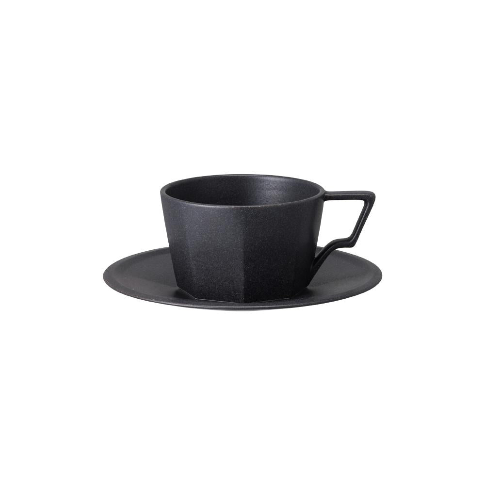 KINTO OCT CUP & SAUCER 300ML / 10OZ  BLACK