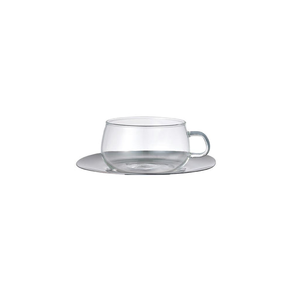 KINTO UNITEA CUP & SAUCER 230ML / 8OZ STAINLESS STEEL .
