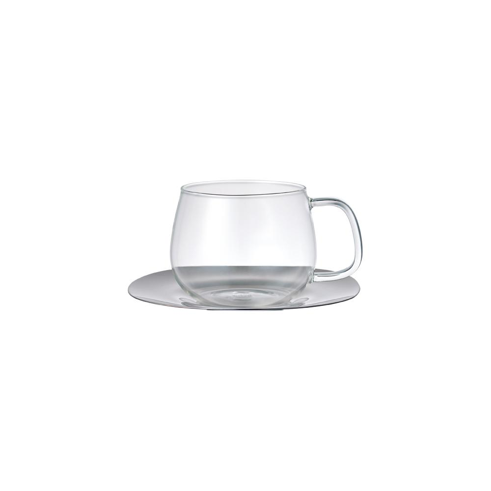 KINTO UNITEA CUP & SAUCER 350ML / 12OZ STAINLESS STEEL  .