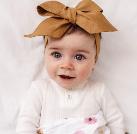 MUSTARD LINEN BOW PRE-TIED HEADBAND WRAP
