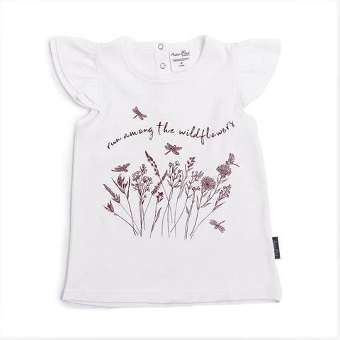 ORGANIC COTTON WILDFLOWER PRINT FLUTTER TEE