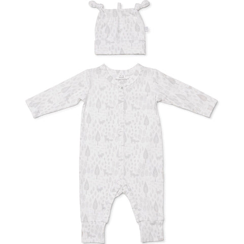 NEWBORN ESSENTIALS FOOTLESS GROWSUIT AND BEANIE