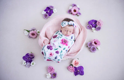 PEONY BLOOM SNUGGLE SWADDLE & TOPKNOT SET