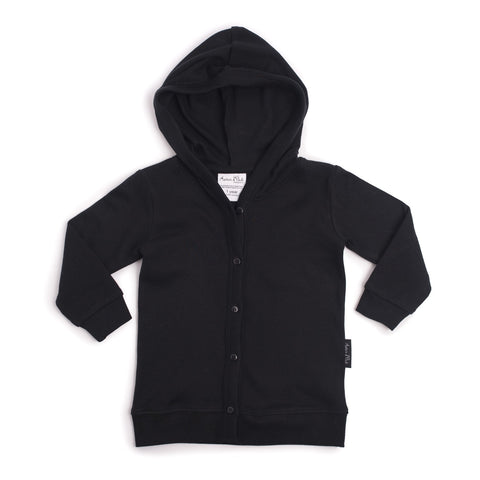 HOODED LIGHTWEIGHT CARDIGAN | BLACK