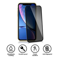 22 cases 3D Privacy Tempered Glass Black for iPhone XR