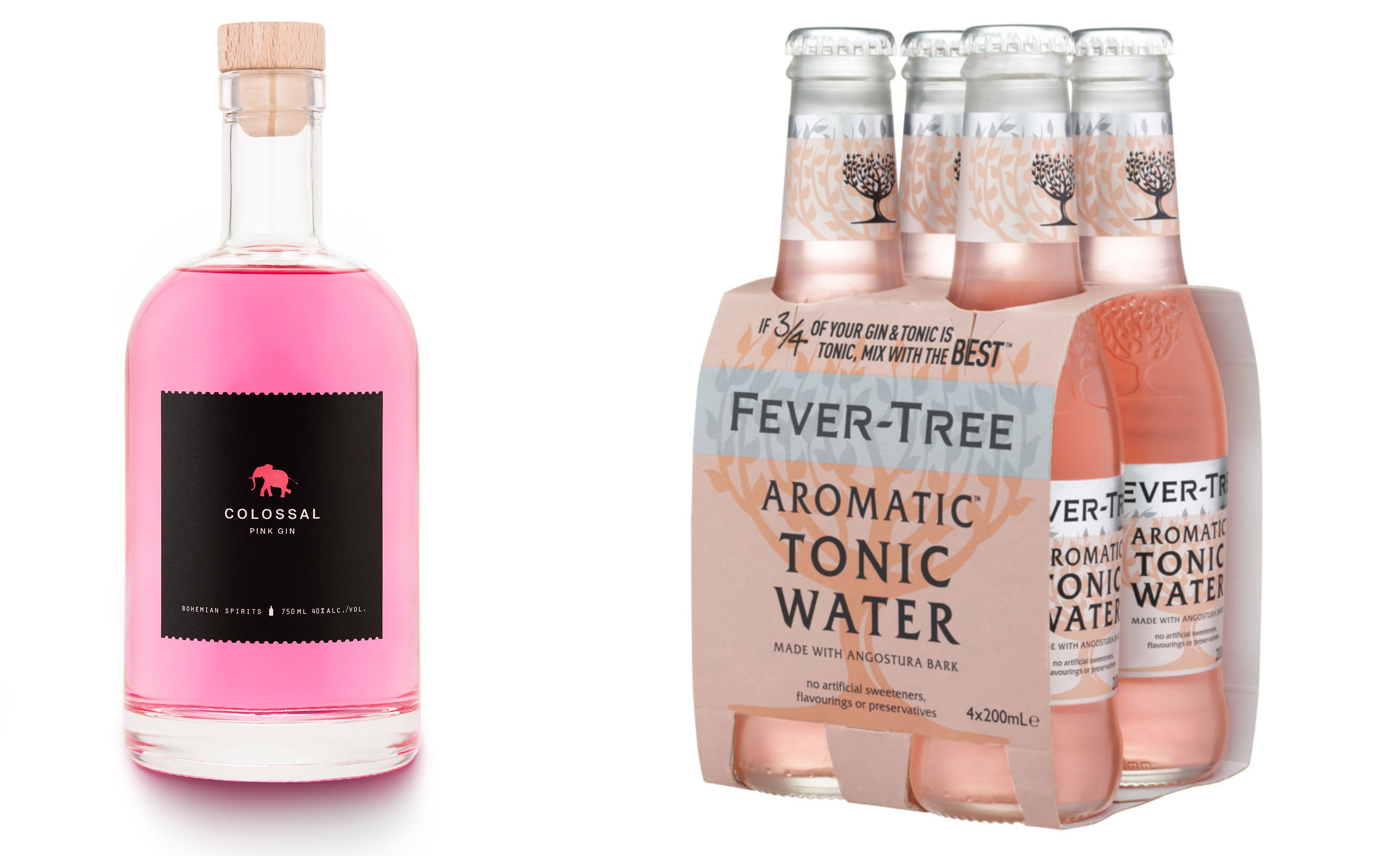 Bohemian Spirits Colossal Pink Gin Fever Tree Aromatic Tonic Water