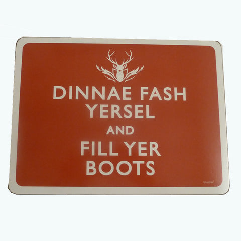 """Dinnae Fash"" - Red Placemat"