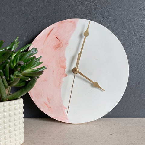 White and Blush Concrete Clock