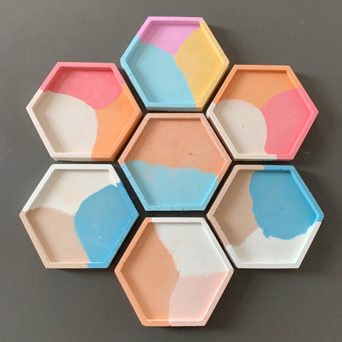 Concrete Rainbow Hexagon Trays