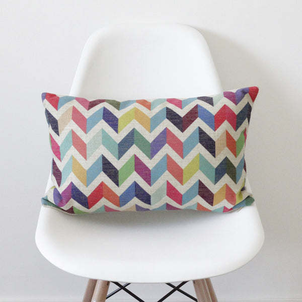 Geometric Chevron Bolster Cushion Cover - Quirky Bee - 1