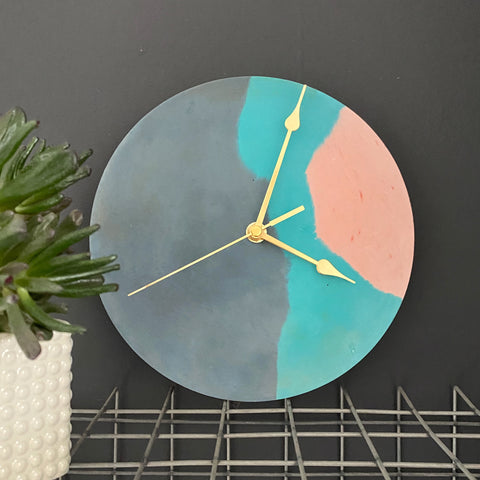 Navy, Teal and Blush Clock