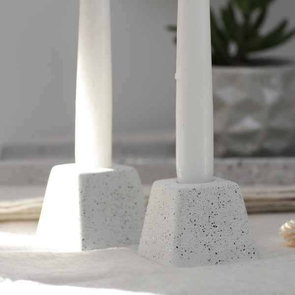 Silver Granite Candle Holders