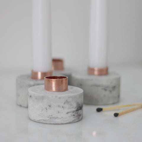 Copper and Concrete Candle Stick Holder