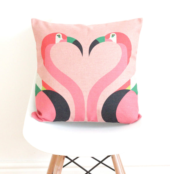 Geometric Flamingos Cushion Cover - Quirky Bee - 1
