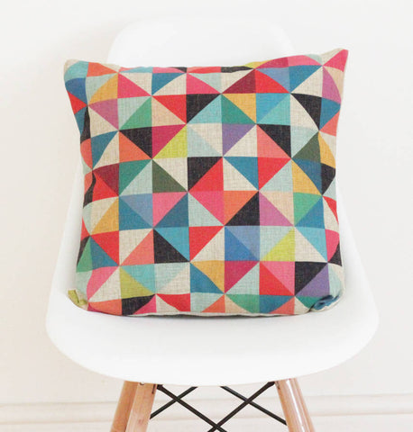 Geometric Linen Cushion Cover - Quirky Bee