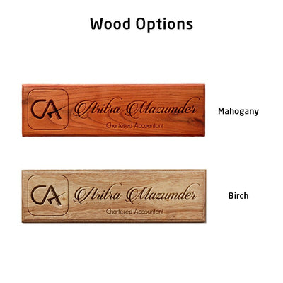 Personalized Wooden Nameplate for Chartered Accountants