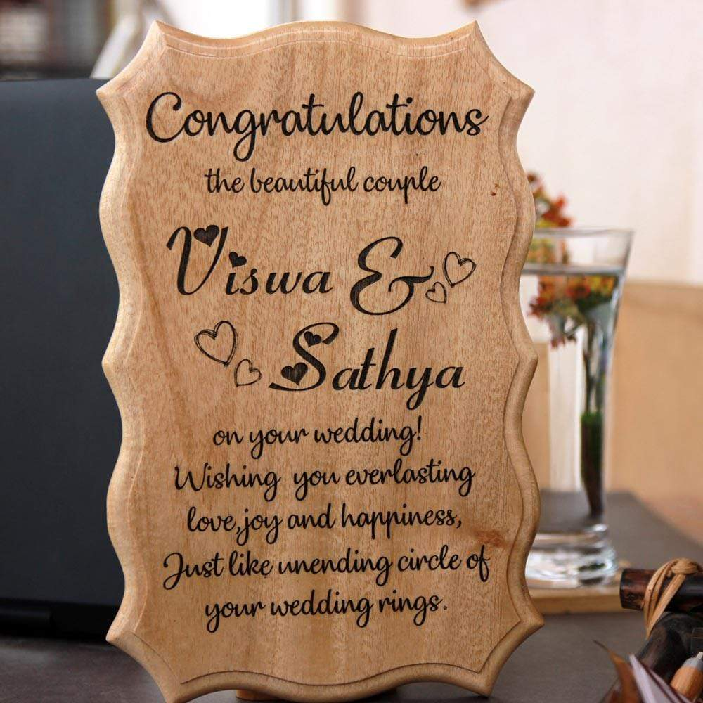 Congratulations On Your Wedding Wooden Sign. Wedding Wishes engraved on wood sign is one of the best wedding gifts. This wedding wooden sign makes one of the best wedding gifts for couples