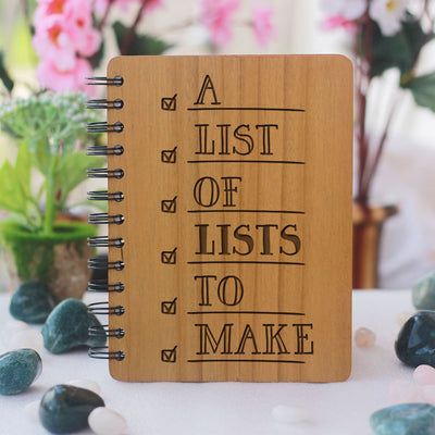 A List of Lists to Make Notebook - List of lists to make - journal notebook - Wooden Journal - Notebooks and Journals - Wooden Notebooks India - Gifts for friends - Woodgeek Store