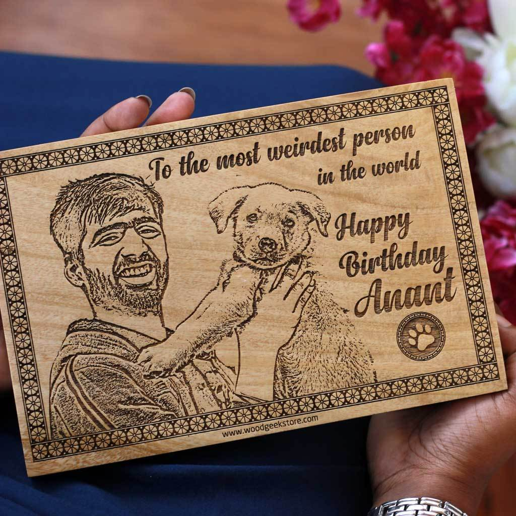 All You Need is Love & Dogs Wooden Frame - Photo on Wood - Personalized Wooden Plaque in Mahogany Wood - Customized Wooden Posters by Woodgeek Store
