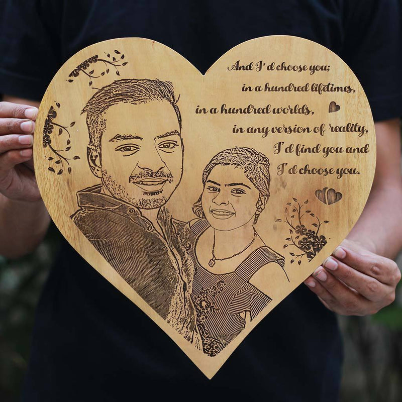 And I'd choose you, in a hundred lifetimes, in a hundred worlds. In any version of reality, I'd find you and I'd choose you Wooden Frame - Photo on Wood - Personalized Wooden Plaque in Birch Wood by Woodgeek Store
