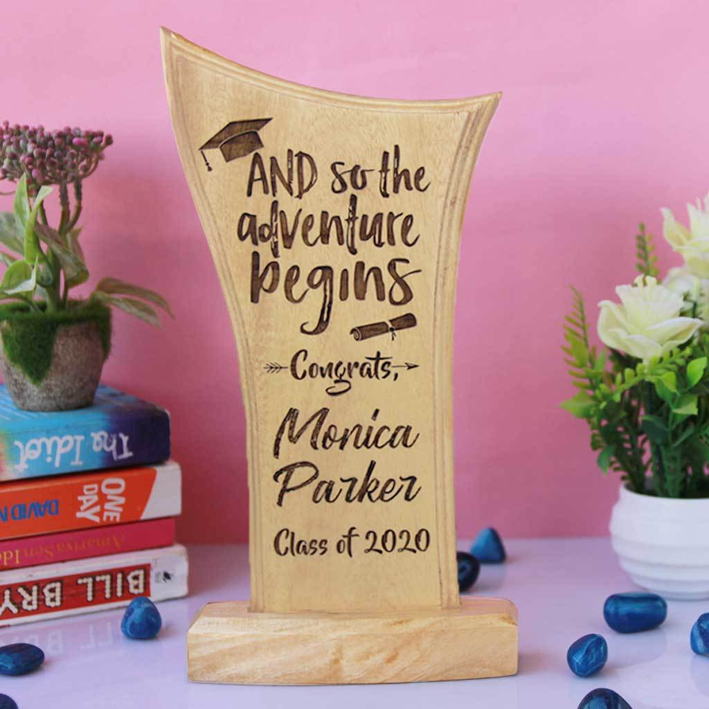 Graduation Gifts: And So Then Adventure Begins Award Trophy. The best graduating gifts are these custom trophies engraved with a name and year of graduation.