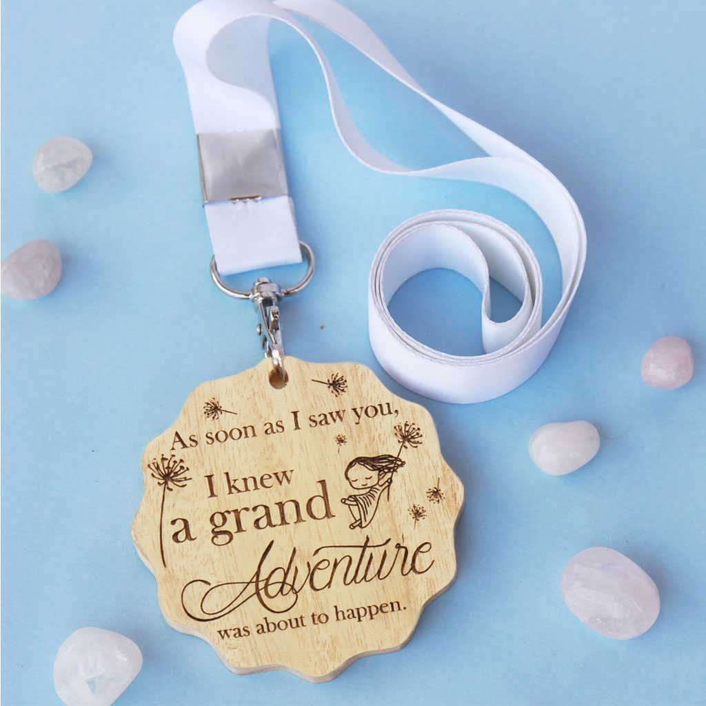 As Soon As I Saw You I Knew A Grand Adventure Was About To Begin Wooden Medal. A Medal Engraved With Winnie The Pooh Quote. This Custom Medal Makes One Of The Best Romantic Gifts For Boyfriend Or Girlfriend - These Medals And Trophies Are Great Gifts For Friends.