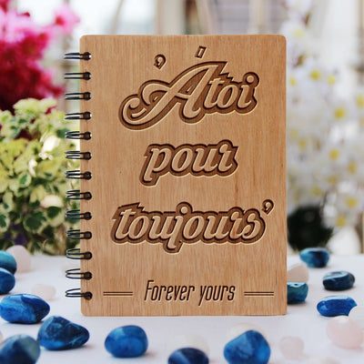 Notebook - Atoi Pour Toujours: Forever Yours - Bamboo Wood Notebook
